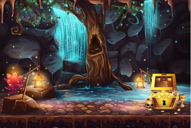 illustration-fantasy-cave-with-waterfall-tree-treasure-chest_284645-522